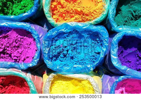 Colorful Tika Powders On Indian Market. Colorful Powder For Sale On The Festive Occassion Of Holi In