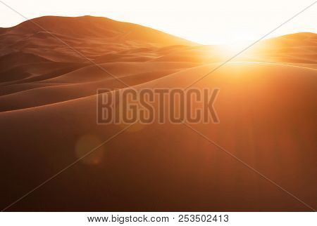 Beautiful Sand Dunes In The Sahara. Sahara The Largest Hot Desert And The Third Largest Desert In Th