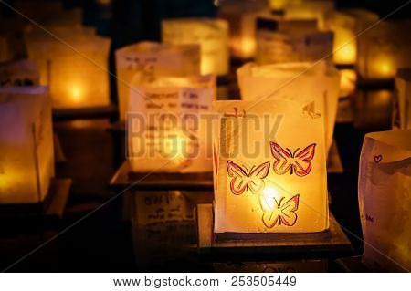 An East Coast Lantern Festival With Personal Inspirational Messages Floating Out On The Water.