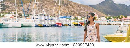 Caribbean cruise travel woman touristin Philipsburg, St Maarten, holiday banner landscape panorama. Cruise ship travel destination. Netherlands Antilles.