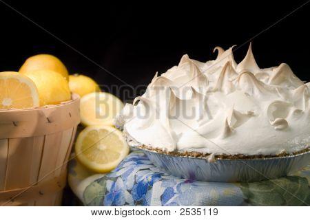 Basket Of Lemons With Lemon Meringue Pie.