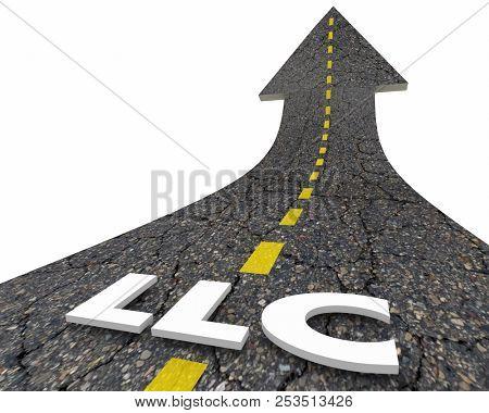 LLC Limited Liability Corporation Business Model Road Word 3d Illustration