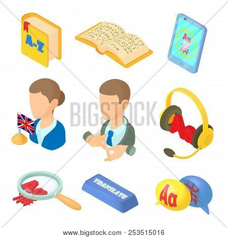 Learning Foreign Languages Icons Set In Cartoon Style. Language Interpreter Set Collection Illustrat