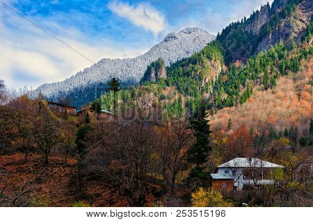 House On Hillside Surrounded By Autumn Trees, Place Of Solitude, Communing With Nature, Environmenta