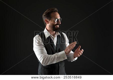 Success Concept. Happy Man Clap Hands Celebrating Success. Businessman Applaud To Success. Work Hard