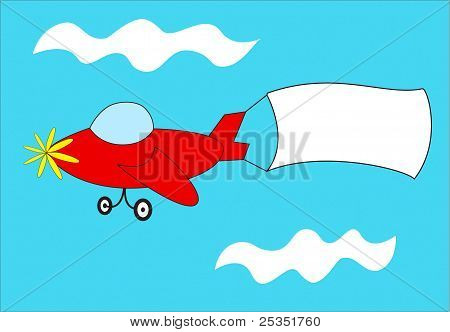 Red Airplane Pulls Blank Banner