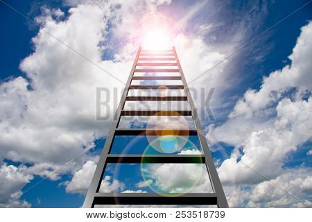 Ladder into sky. Sun in clouds. 3D rendering