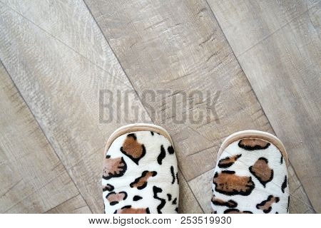 Natural Textured Background - Floor And Feet Slippers