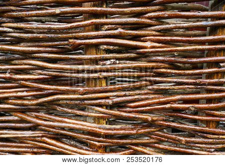Natural Textured Background, Wattled  Basket Close- Up