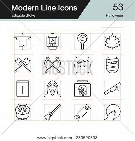Halloween Icons. Modern Line Design Set 53. For Presentation, Graphic Design, Mobile Application, We