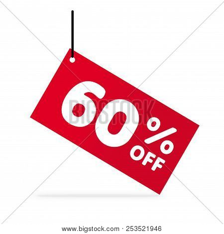 60% Off Discount. Discount Offer Price Illustration. Vector Discount Symbol. Hung Red  Tag. White Ba