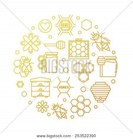 Honey And Beekeeping Vector Yellow Line Round Illustration. Honeybee, Bee, Honeycomb, Apiary, Flower