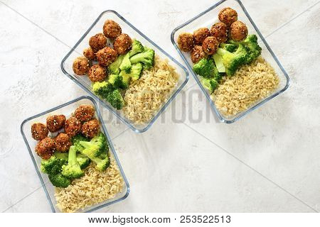 Meatballs And Broccoli And Rice Lunch Boxes Cooked In Advance And Ready To Be Frozen Or To Be Served