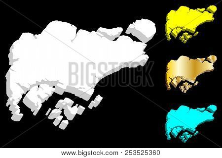 3d Map Of Singapore (republic Of Singapore) -  White, Yellow, Blue And Gold - Vector Illustration