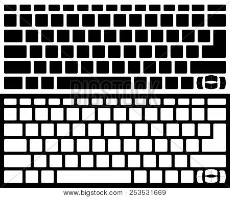Silhouette Computer Keyboard Vector Isolated. Black And White Version
