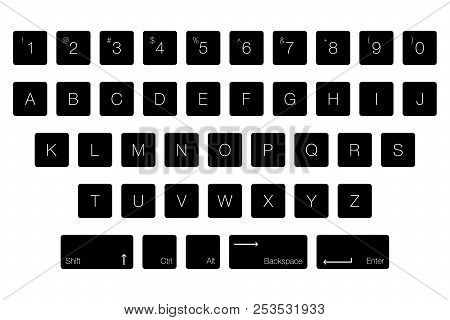 Vector Keyboard Computer Letter Keys. Isolated Black Buttons In Alphabetical Order