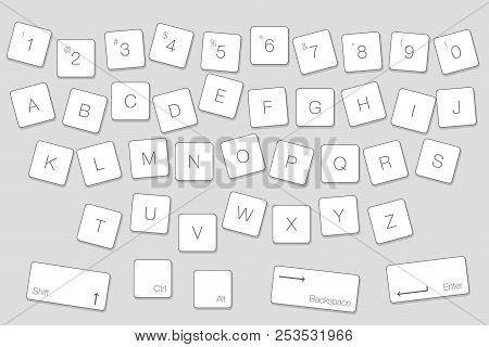 Vector Keyboard Computer Letter Keys. Isolated White Buttons In Alphabetical Order