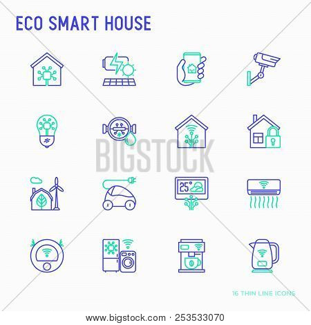 Eco Smart House Thin Line Icons Set: Solar Battery, Security, Light Settings, Appliances, Artificial