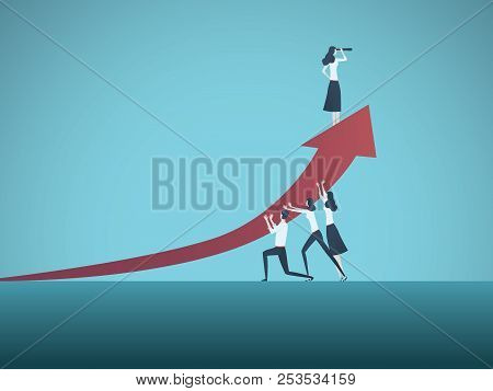 Business Woman Leader Vector Concept. Symbol Of Times Up Movement, Woman In Business, Emancipation,
