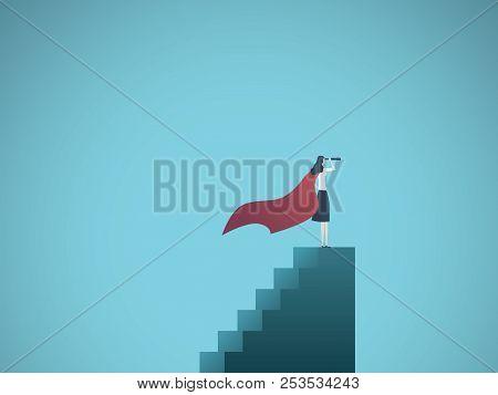 Business Woman Superhero Leader Vector Concept. Symbol Of Leadership, Success, Ambition, Achievement
