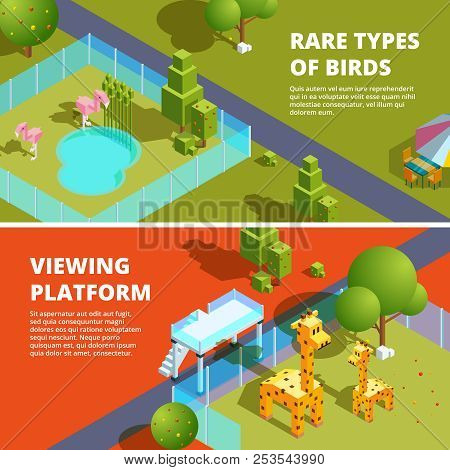 Horizontal Banners With Zoo And Funny Animals. Isometric 3d Illustrations