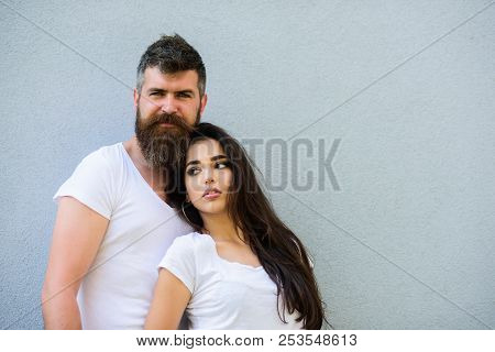 Romantic Couple. Couple White Shirt Cuddle Each Other. Hipster Bearded And Stylish Girl Hang Out Urb