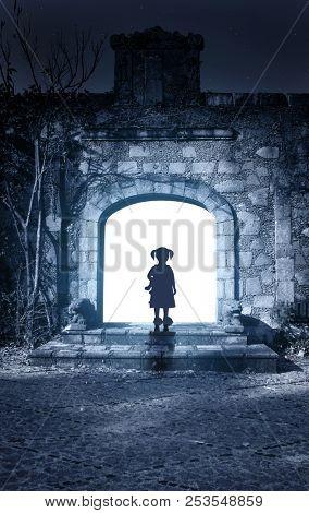 Little girl in open door of ancient house. Photo toned in blue color. 3d render