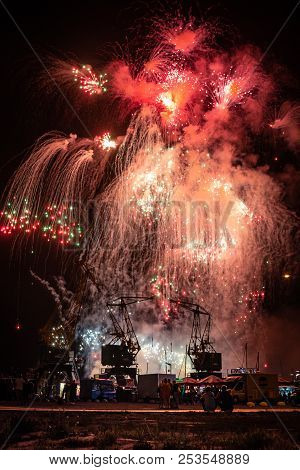Szczecin, Poland - August 2018: Fireworks Festival During Pyromagic 2018 (international Pyrotechnic
