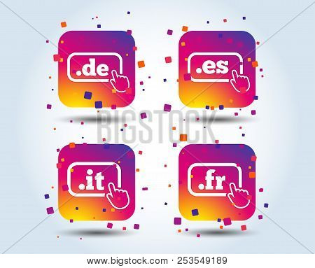 Top-level Internet Domain Icons. De, It, Es And Fr Symbols With Hand Pointer. Unique National Dns Na
