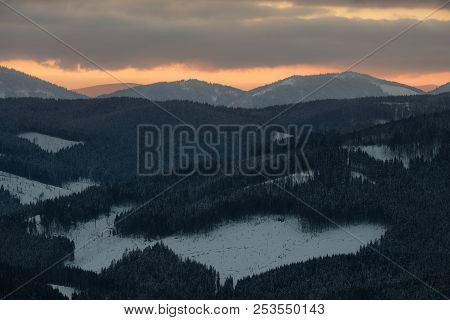 Winter Landscape Of A Mountain Range In Winter. Sunset In The Mountains. Winter Vaction In The Mount