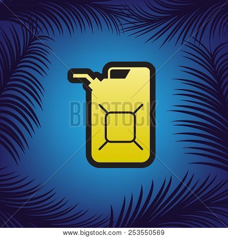 Jerrycan Oil Sign. Jerry Can Oil Sign. Vector. Golden Icon With