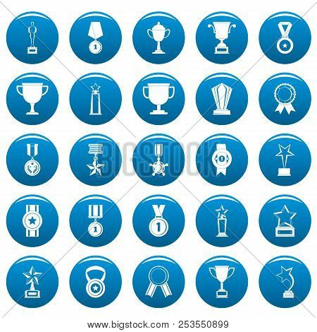 Medal Award Icons Set Blue. Simple Illustration Of 25 Medal Award  Icons For Web