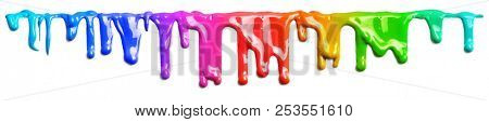 Colorful paint dripping isolated on white