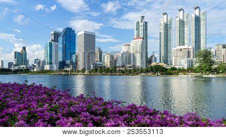 Bangkok City - Cityscape Downtown  Business District Urban Area , Landscape Bangkok Thailand