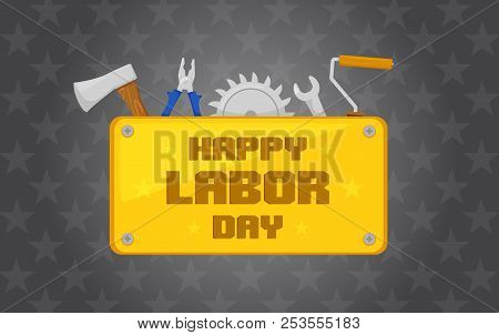 Labor Day Icon With Tools Elements. Text On Golden Plate On Dark Background Vector Illustration.
