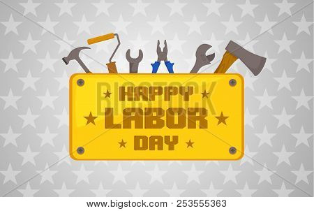 Labor Day Celebration Icon With Tools Elements. Text On Golden Plate On Light Background Vector Illu