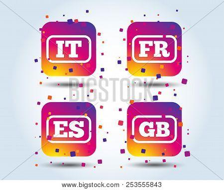 Language Icons. It, Es, Fr And Gb Translation Symbols. Italy, Spain, France And England Languages. C