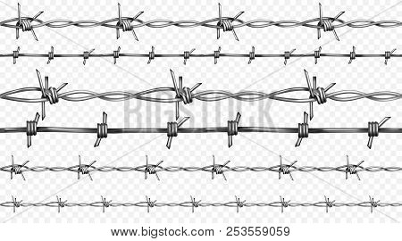 Barbed Or Barb Wire Vector Illustration Of Seamless Realistic 3d Metallic Fence Wires With Sharp Edg
