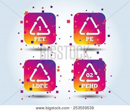 Pet, Ld-pe And Hd-pe Icons. High-density Polyethylene Terephthalate Sign. Recycling Symbol. Colour G