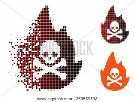 Vector Hellfire Icon In Dispersed, Pixelated Halftone And Undamaged Solid Versions. Disappearing Eff