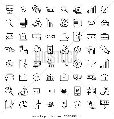 Simple Set Of Banking Related Outline Icons. Elements For Mobile Concept And Web Apps. Thin Line Vec