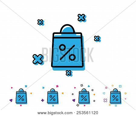 Shopping Bag With Percentage Line Icon. Supermarket Buying Sign. Sale And Discounts Symbol. Line Ico