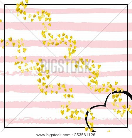 Wedding Glitter Confetti With Heart On Pink Stripes Shiny Random Falling Sequins Shimmer