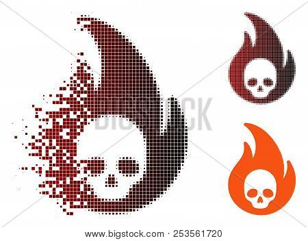 Vector Hellfire Icon In Sparkle, Pixelated Halftone And Undamaged Solid Variants. Disintegration Eff