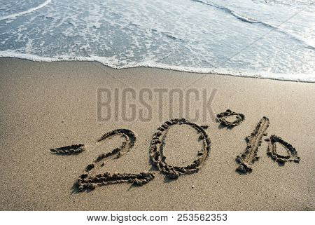 Inscription On The Sand Minus - 20 Twenty Percent, - 20 %, Sea Wave On The Sand With The Inscription