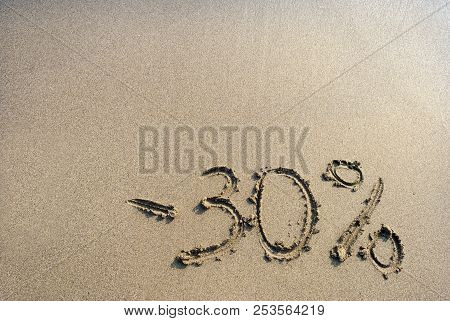 30 %,  Inscription On The Sand Minus Thirty Percent,