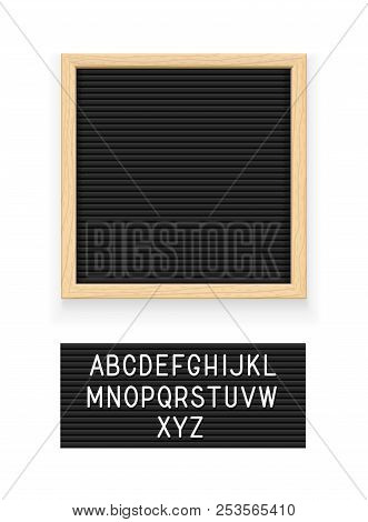 Black Letter Board. Letterboard For Note. Plate For Message. Office Stationery. Isolated White Backg