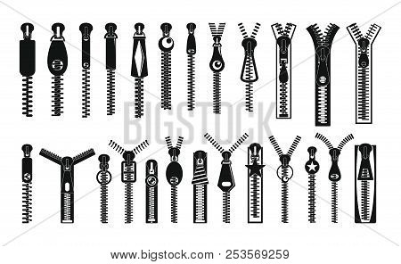 Zipper Puller Lock Icons Set. Simple Illustration Of 32 Zipper Puller Button Lock Icons For Web