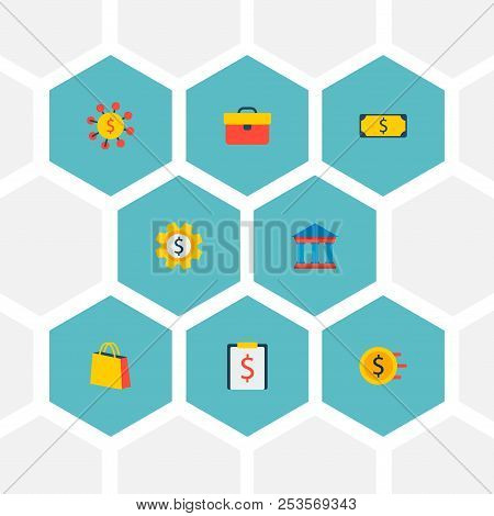 Set Of Economy Icons Flat Style Symbols With Court, Briefcase, Shopping Bag And Other Icons For Your