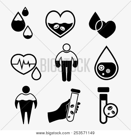 Anemia and Hemophilia icons set in black color. Heart shape, dropping blood, test-tubes signs isolated on a light background in flat style. Haemophilia disease awareness symbol. Vector illustration. poster